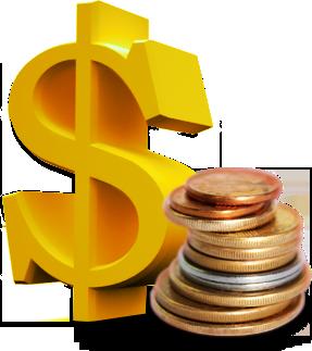 Imagem de um cifrão e algumas moedas.
